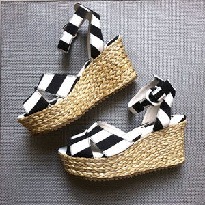 Black Striped Wedge Platform Summer Platforms 8 M